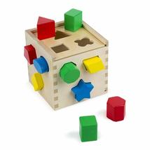 Melissa & Doug Shape Sorting Cube - Classic Wooden Toy With 12 Shapes - $18.99