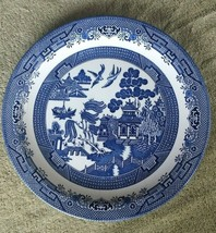 "Vintage ~ CHURCHILL England ~BlLUE WILLOW ~ Big 13"" Chop Plate Serving P... - $39.59"