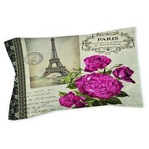 White Ivory Paris Themed Pillow Eiffel Tower Pattern Magenta Roses France - $64.99