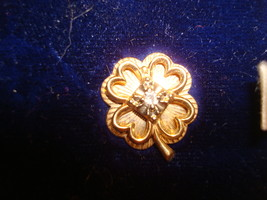 VERY NICE 14K YELLOW GOLD LUCKY FOUR LEAF CLOVER TIE TACK PIN DIAMOND .0... - £189.74 GBP