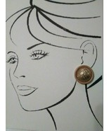 VINTAGE CLIP GOLDEN BUTTON EARRINGS TEXTURED ROUNDS IN WOOD LOOK FRAME - $20.00