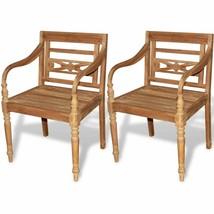 vidaXL 2 pc Teak Wood Dining Arm Chair Outdoor Garden Patio Furniture Ba... - $223.99