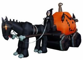 Halloween Inflatable Grim Reaper Drives Pumpkin Carriage Mustang Yard De... - €146,06 EUR