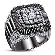 Round Cut Diamond Black Gold Plated Solid 925 Silver Engagement Men's Ba... - $148.96