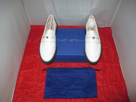 Stuart Weitzman Women's Penley Penny Loafers $450 Cresmo White - US Size 9 M - $199.99
