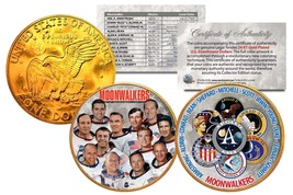 MOONWALKERS Apollo NASA Astronauts IKE Dollars 2-Coin Set 24K Gold Plate... - $18.66