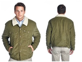 Levi's Men's Corduroy Sherpa Fleece Button Up Jacket Coat Relaxed Fit Green - $117.00