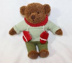 "13"" Hallmark Teddy Mittens Plush Bear Green Sweater Red Mittens Scarf Ch... - $19.57"