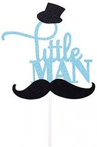 Rainlemon(TM) Glitter Blue Mustache Little Man Cake Topper Birthday Par... - $17.24