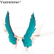 Fashion Oversized personality Wing Shape Sunglasses Women Vintage Rimless Clear  image 5
