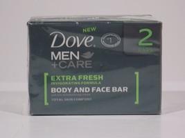 2 Dove Men Care Extra Fresh Invigoting Formula Body & Face Bar Skin Comfort New - $6.64
