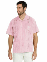 Men's Guayabera Cuban Beach Wedding Casual Short Sleeve Pink Dress Shirt L
