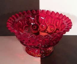 Moon and Stars Ruby Amberina Glass Footed Open Compote Ruffled Rim - $29.20
