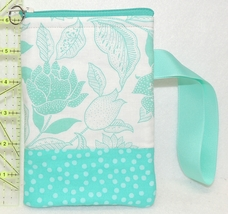 Cell Phone Case With Handle - Small - Aqua and White Floral - HPC - $4.00