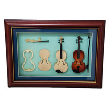Sky Mini Violin Making Process in Photo Frame with Hanger Delicate GIFT - $35.99