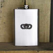 Distressed Air Force Basic Force Protection Badge Veteran Stainless Steel Flask - $19.79