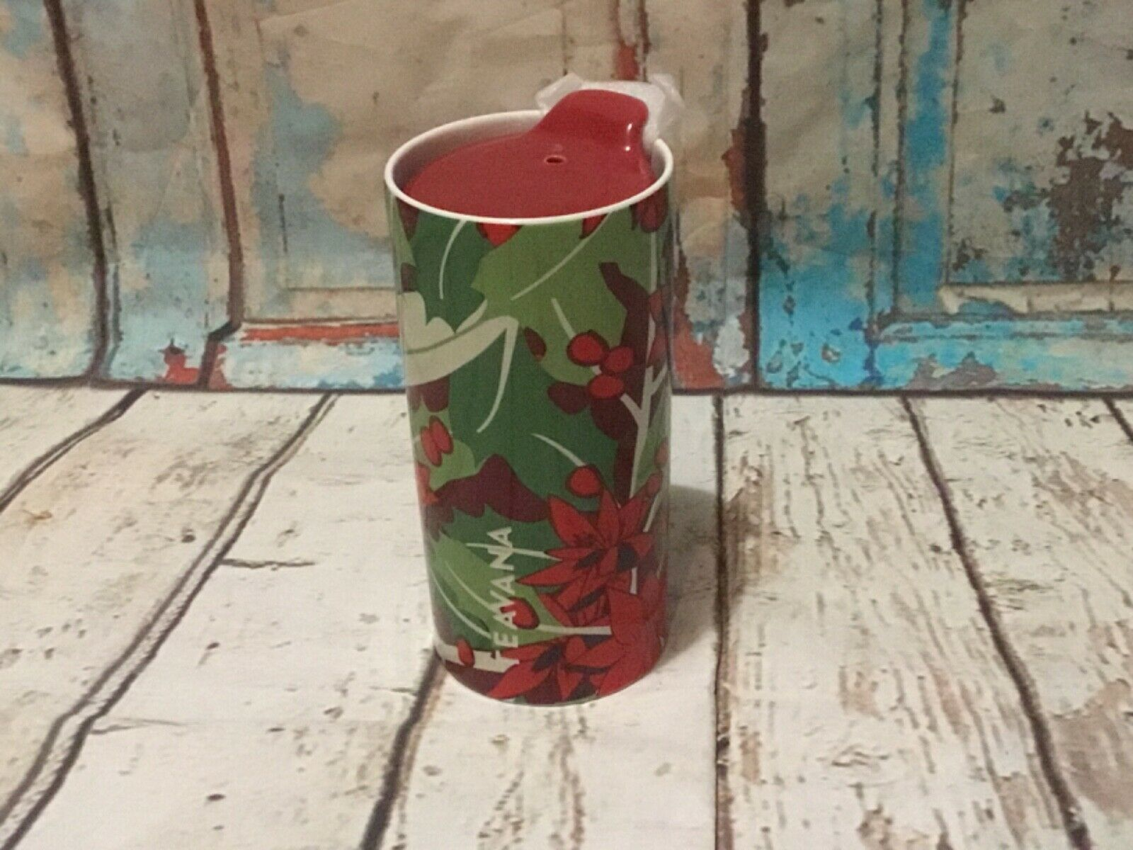 Teavana Poinsettia holiday ceramic tumbler travel lid 10 oz New - $21.46