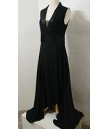 VENUS Black Sleeveless High Slit Asymmetrical Long Gown NWOT 8 - $269.99