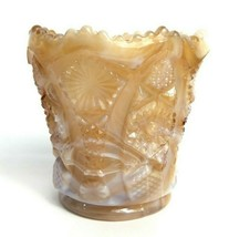 Vintage Imperial Glass Toothpick Holder Caramel Chocolate Slag Glossy Be... - $16.57