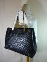 NWT Tory Burch Black Fleming Triple Compartment Shoulder Tote image 2