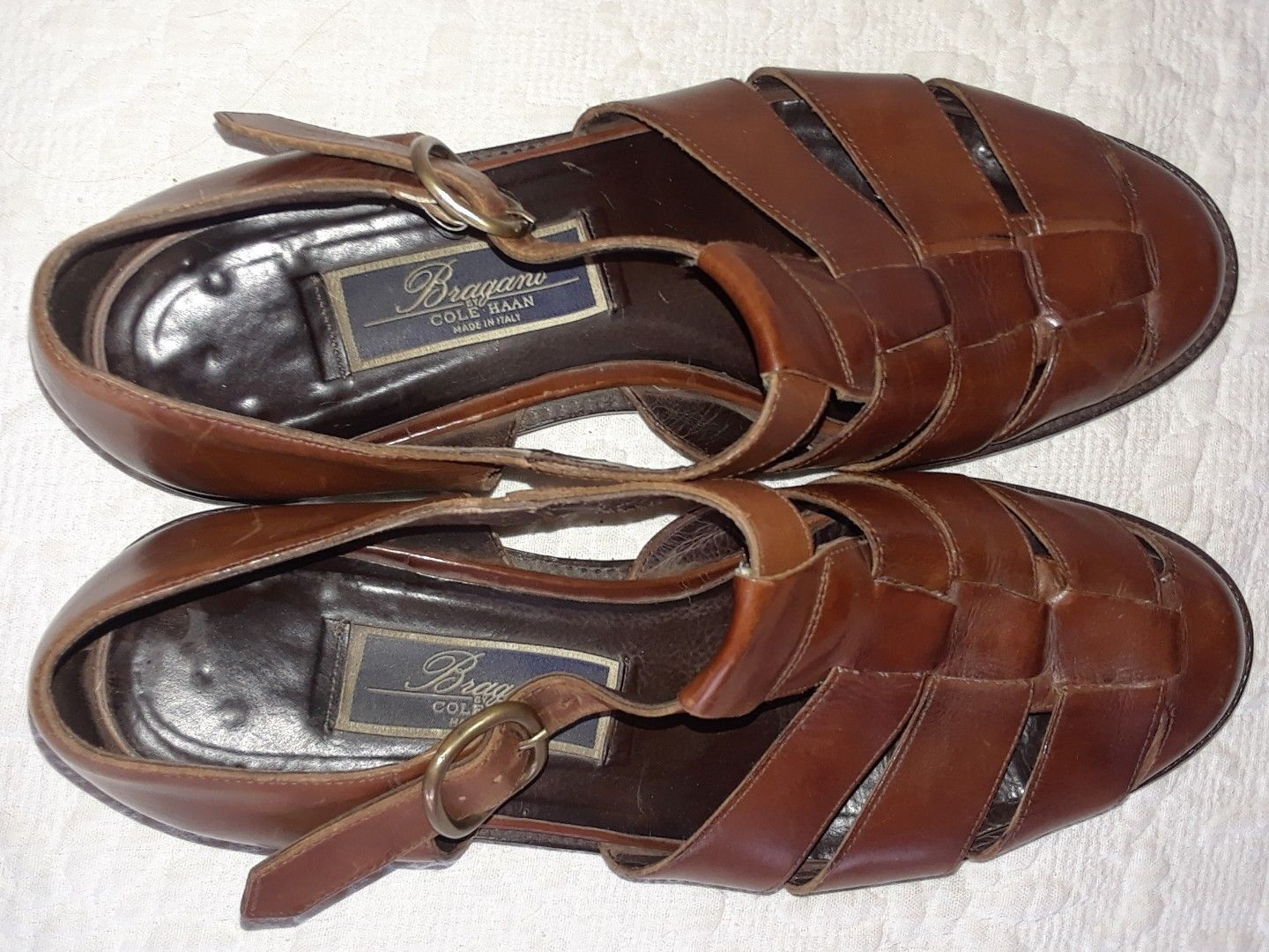 c4bec0f76929 Mens Bragano Shoes by Cole Hann Fisherman Dress Sandals Brown Leather Size 9