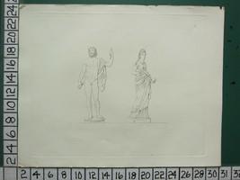 1864 ROMAN GREEK SCULPTURE CERAMICS PRINT ~ PLATE 20 ~ MALE & FEMALE STA... - $62.30