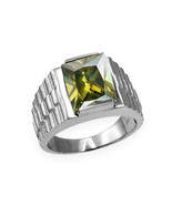 Sterling Silver Mens Square CZ August Birthstone Watchband Ring - $64.99