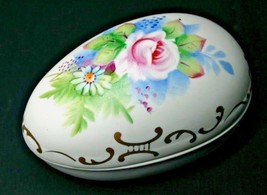 Lefton China Porcelain Egg Trinket Box #425 Hand Painted Floral & Gold Vintage - $12.00