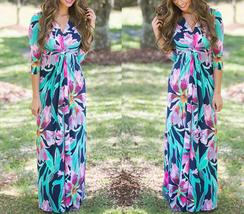 Women's Floral Print V Neck Wrap 3/4 Long Sleeve Maxi Casual Dress with Belt - $37.78