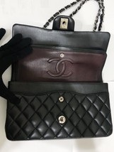 SALE Authentic Chanel BLACK QUILTED LAMBSKIN MEDIUM CLASSIC DOUBLE FLAP BAG SHW image 12