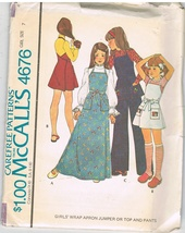 Vintage McCall's 4676 Sewing Pattern Girls' Wrap Apron Jumper Sewing Pattern - $5.50