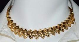 VTG TRIFARI Patent Pending Basket Weave Ribbon Gold Tone Choker Necklace - $74.25