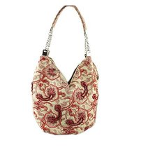 Vintage Floral Print Beading Tote Bag Red Wedding Handbag