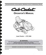 Cub Cadet Operation Manual Model No. LTX 1040 - $14.84
