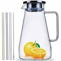 Glass Pitcher With Lid And Spout 61.5 Ounces For Chilled Beverage Homema... - $22.17