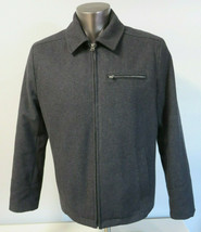 Mens Levi's Wool Jacket Solid Gray Lined Full Zip Wool Blend Size Medium M  - $39.59