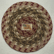 "Braided Trivet--Candle Mat--Olive Burgundy--8"" Cotton--#118 M - $6.70"