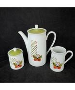 Vintage Georges Briard Coffee Set Pot Creamer Sugar Butterfly Avocado Green - $39.55