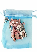 """2.75"""" Wide Large Enameled Cats Kitten Kitty Brooch Pin """"C"""" Clasp Animal Jewelry - $12.83"""