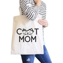 Cat Mom Natural Canvas Tote Bag Unique Graphic Gifts For Cat Lady - $15.99
