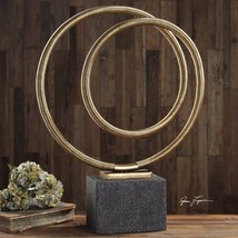 URBAN INDUSTRIAL METALLIC GOLD TWISTED COIL METAL MODERN ART STATUE SCUL... - $217.80
