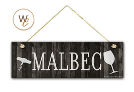 "MALBEC Wine Sign, Dark Rustic Wood Style, 5.5"" x 17"" Sign, Wine Bar - $20.25"