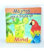 "Beach & Mojitos Style Printed Canvas Colorful Wall Art 14"" Square Wood F... - $24.98"
