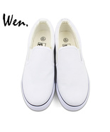Wen Design Custom White Slip On Shoes Hand Painted Canvas Sneakers for M... - $79.00