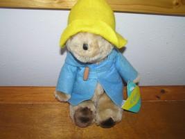 Vintage Eden Small Paddington Bear w Yellow Hat & Blue Felt Coat Plush S... - $13.99