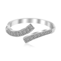 Womens Cute Sterling Silver Rhodium Plated White Cubic Zirconia Overlap Toe Ring - $37.62