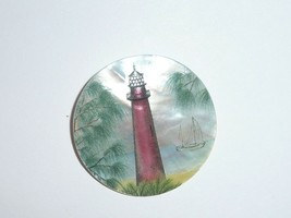 """Pretty Red Lighthouse w/ Sailboat on MOP - Mother Pearl Shank Button 1-3/8"""" - $11.99"""