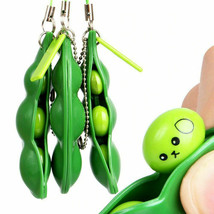 2021 New Key Tags Toys Peas  Pop It Fidget Squishy Beans Keychain - Pack of 5 image 2