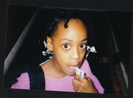 Vintage Photograph Pretty African American Girl With Big Eyes - $6.93