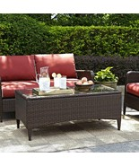 Garden Glass Top Cocktail Coffee Table All-Weather Woven Wicker Brown Pa... - $170.96